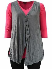 COMFY USA Crinkle Angled Button Zoey Vest SLATE Grey L XL $90