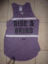 "VICTORIAS SECRET PINK GRAPHIC ""RISE & GRIND"" TANKTOP TEE NWT"