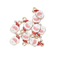 10X Christmas Mix Silver Plated Enamel Pendants Charms JS