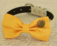 Yellow Bow tie Live your dream Handmade Dog Collar Pet Lover Wedding Accessory