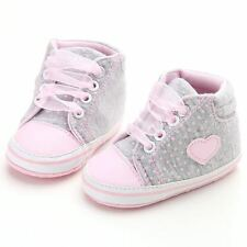 Infant Newborn Baby Girls Polka Dots Heart Lace-Up First Walkers Sneakers Shoes