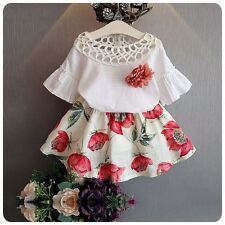 Cotton Fashion Baby Girl Clothing Sets Floral white short sleeve t shirt tops +