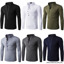 Mens Single-breasted Long Sleeve Bottoming T-shirts Slim Fit Casual Henley Tee