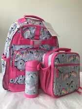 NWT Pottery Barn Kids Rainbow Zebra Large Backpack/Water Bottle/classic Lunchbox