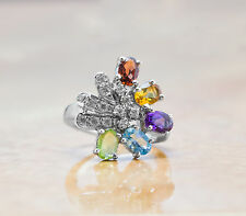925 Sterling Silver Ring with Citrine Peridot Blue Topaz Natural Gemstones eBay