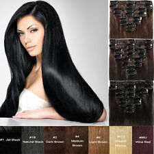 100% Real Natural Hair 8 Pcs 18 Clips Full Head Clip In Hair Extensions Straight