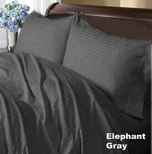 Gray Striped Complete Bedding Collection 1000TC 100%Egyptian Cotton Single Size