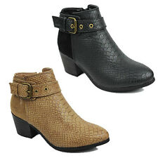 WOMENS LADIES CUBAN HEEL COWBOY BUCKLE FASHION ANKLE BOOTS SHOES SIZE 3-8