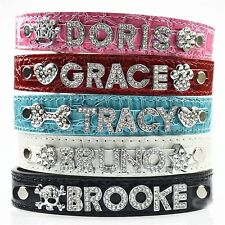Dog Cat PU Croc Personalized Collar Sizes XS-L, 4 Colors DIY 9 Free 10mm Letters