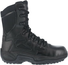 """Reebok RB8875 Rapid Response 8"""" Stealth Side Zip Soft Toe Tactical Police Boots"""