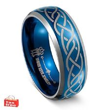 Tungsten Wedding Ring Blue Laser Celtic Knot Band Engagement Routine Fashion