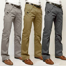 Stylish Men's Slim Straight-Leg Trousers Solid Casual Pencil Business Long Pants