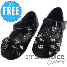 BABY GIRLS BLACK SHINY PARTY SHOES VELCRO STRAPS BALLERINA BUTTERFLY