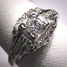 3.6CT White Topaz Women Jewelry 925 Silver Ring Wedding Engagement Size 6-10