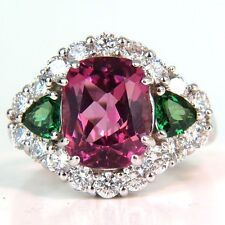 4.4CT Rose Red Sapphire&Emerald 925 Silver Ring Wedding Engagement Size 6-10