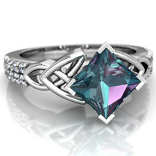 Women Men 2.8CT Blue Topaz Jewelry 925 Silver Ring  Wedding Engagement Size 6-10