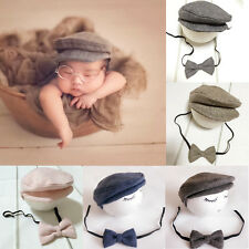 Newborn Baby Peaked Beanie Cap Hat + Bow Tie Set Photography Photo Prop Outfit