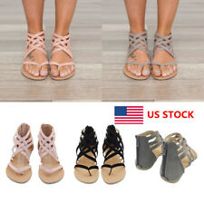 US Women Gladiator Beach Back Zipper Ankle Strappy Flats Sandals Shoes 4.5-9