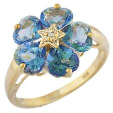 14Kt Yellow Gold Plated Natural Blue Mystic Topaz & Diamond Heart Ring