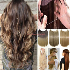 US 100g Invisible Wire Hairpiece Secret Long Curly Straight Hair Extension Ombre