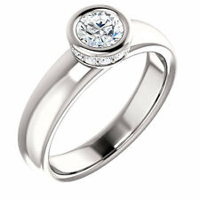Forever Brilliant and diamond engagement Ring 14k White Gold, Solitaire ring