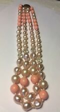 $.75 VINTAGE 60'S LOVELY 2-STRAND PINK AND PEARLY NECKLACE, AS IS
