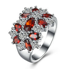 18K White Gold Plated Oval Ruby Crystal Engagement Ring Women Wedding Jewelry