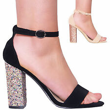 LADIES WOMENS HIGH BLOCK HEEL GLITTER SANDAL ANKLE STRAP PARTY PROM BRIDAL SHOES