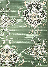 MODERN GREEN DAMASK AREA RUG; APROX SIZE OPTIONS: 2'X3' 2'X7' 4'X5' 5'X7' 8'x11'