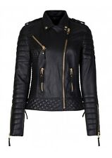 New womens leather motorcycle jacket genuine lambskin women biker coat  S M 248