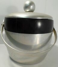 "Vintage ""Kromex"" Aluminum & Black Bakelite Ice Bucket W/Lid&Handle - Made In USA"