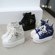 Women's Hidden Heel Shoes Platform Creeper Sneakers Canvas Lace Up Athletic yh