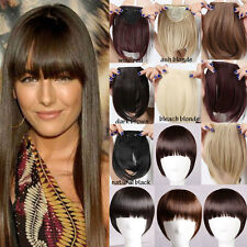 Lady Straight Bang Bangs 2 Clips in on Fringe Hair Extensions as Human Hairpiece