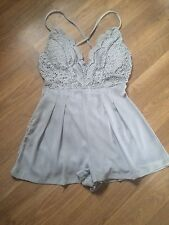 Oyster Grey Lace Detail Mini Dress Playsuit Size 10 (M) -:::- Brand New