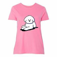 Inktastic Bichon Frise Women's Plus Size T-Shirt By KiniArt Dog White Dogs Just