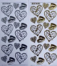 Gold or Silver Embossed on Clear Wedding Doves Rings PEEL OFF STICKERS Hearts