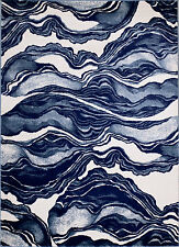 MODERN AREA RUG, BLUE MARBLE DESIGN, APROX SIZE OPTIONS: 2'X3' 2'X7' 4'X5' 5'X7'