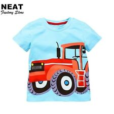 Retail T-shirts for Boys Neat Kid T-shirt Baby Children Car Boys Clothing Blue B