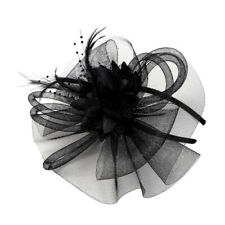 Lady Girls Fascinator Headband Veil Feather Hat Headwear Cocktail Party Costume