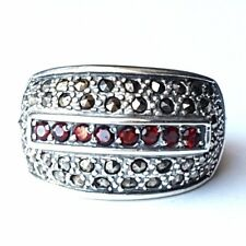 (SIZE 6,7,8) RED GARNET STONES RING Chunky Band Marcasite .925 STERLING SILVER