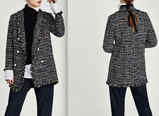 ZARA WOMAN LONG TWEED JACKET WITH PEARL BEADS NAVY BLUE SIZE: XL REF. 7772/604