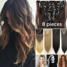 100% Real As Human New Thick Hair Clip In Hair Extensions Full Head Blonde Brown