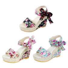 Women Bowknot Lace Up Floral High Wedge Heels Platform Peep Toe Sandals Shoes