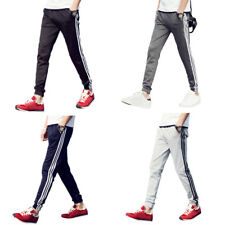 Men Boys Jogging Sports Silm Striped Casual Ankle Banded Pants Long Trousers