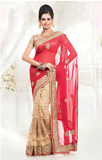 Indian Fancy Party Wear Saree Sari Bollywood Designer Pakistani Wedding Saree