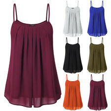 Women's Casual Cami Sleeveless Pleated Chiffon Layered Spaghetti Strap Tank Top