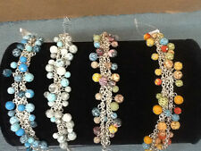 NWT! Gorgeous Viva Beads Multi Beaded Mesh Chain Bracelets Handmade Clay Beads