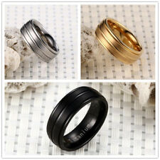 Stainless Steel Titanium Wedding Engagement  Band Ring Gold Black Silver Sz 7-13