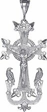 Large Sterling Silver Armenian Cross with Eagles Pendant Necklace with Chain