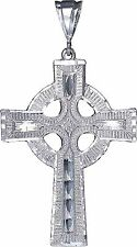 Large Sterling Silver Celtic Cross Pendant Necklace Diamond Cut Finish and Chain